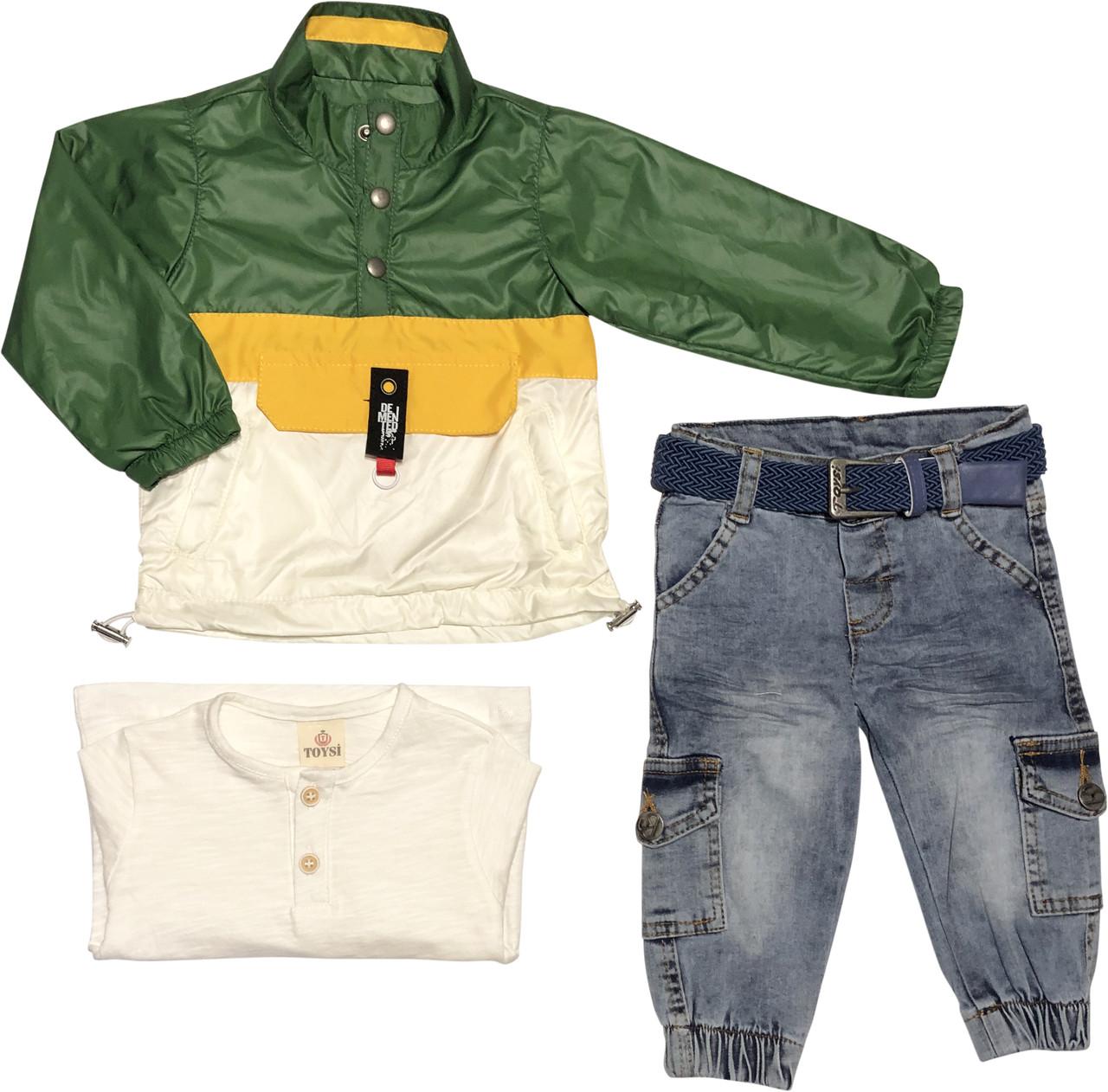 Дитячий демісезонний костюм зростання 74 6-9 міс трикотажний зелений костюмчик на хлопчика комплект з джинсами