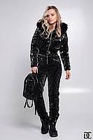 Зимний оригинальный лыжный комбинезон женский черный с переливающим покрытием DX/-13784, фото 1