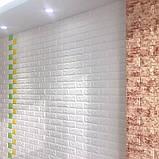 Самоклеющаяся декоративная 3D панель Кирпич Желтый 700x770x5мм (10 шт) Os-BG10-5, фото 5