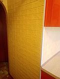 Самоклеющаяся декоративная 3D панель Кирпич Желтый 700x770x5мм (10 шт) Os-BG10-5, фото 6