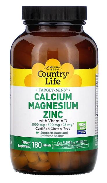 Country Life Calcium Magnesium Zinc with Vitamin D 180 tabs