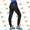 Спортивные утепленные штанишки качкорс трехнитка на флисе цвет черный, фото 2
