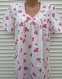 Ночная рубашка с коротким рукавом 52 размер Розовые букеты, фото 7
