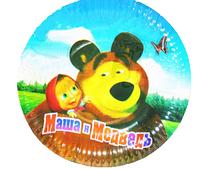 """Тарелки """"Маша и Медведь"""" картонные одноразовые"""