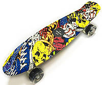Скейт Penny Board, с широкими светящимися колесами Пенни борд, детский , от 4 лет, расцветка Джокер