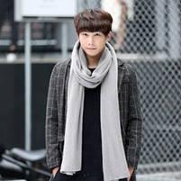 Мужской теплый шарф - Серый, фото 4