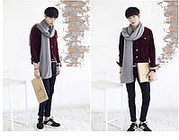 Мужской теплый шарф - Серый, фото 5
