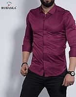 Приталені стильна чоловіча сорочка кольору фуксія