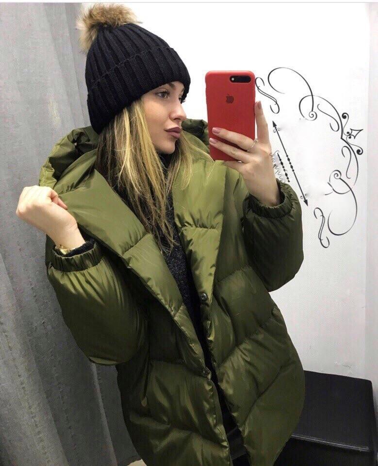 Женская зимняя куртка удлиненная с капюшоном в расцветках (Норма)