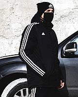 Парка мужская зимняя Adidas до - 30*С черная | Пуховик мужской Адидас Куртка теплая с капюшоном | ЛЮКС
