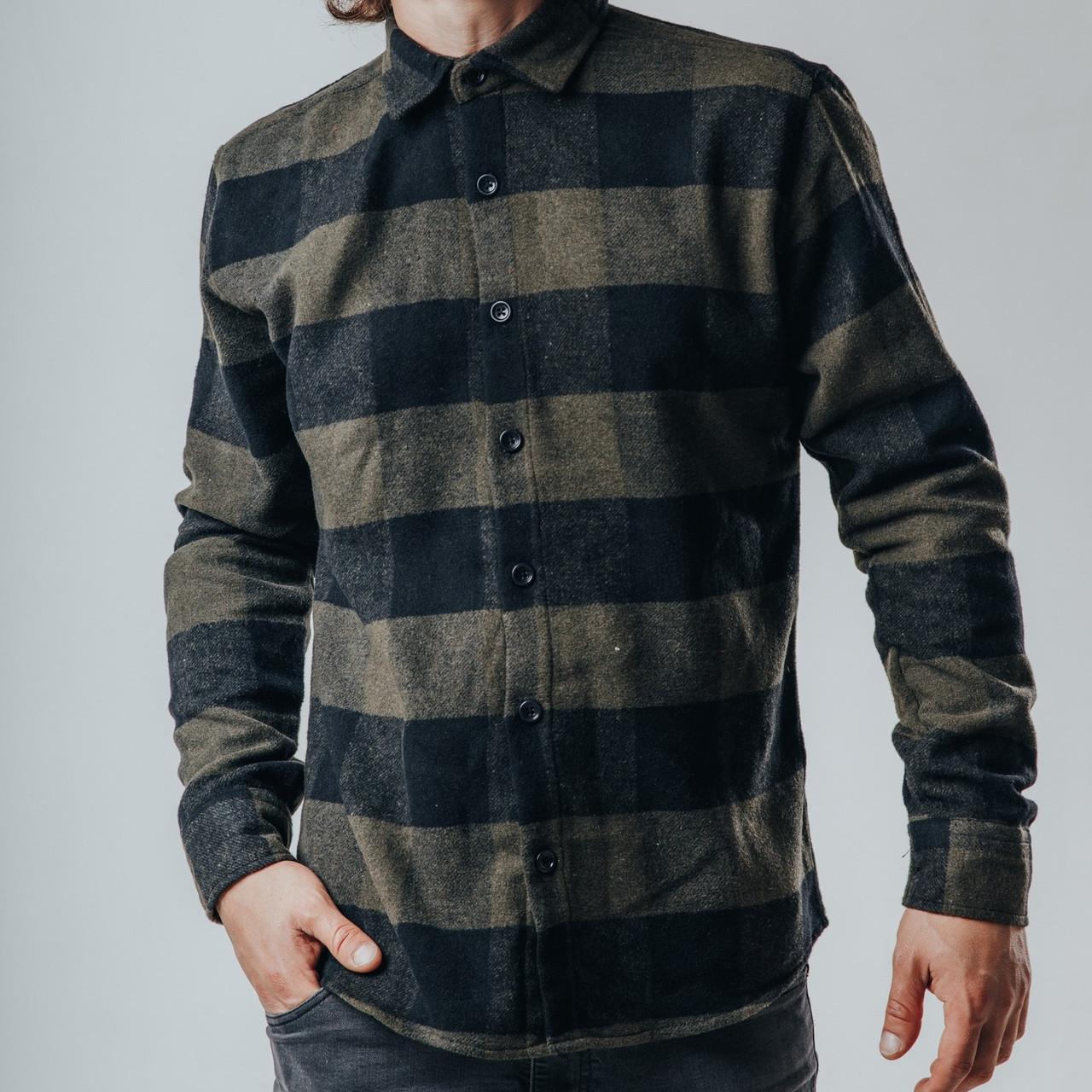 Рубашка мужская клетчатая свето-серая с черным