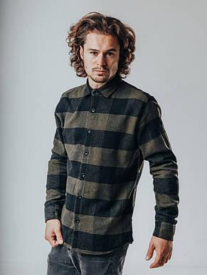 Рубашка мужская клетчатая свето-серая с черным, фото 3