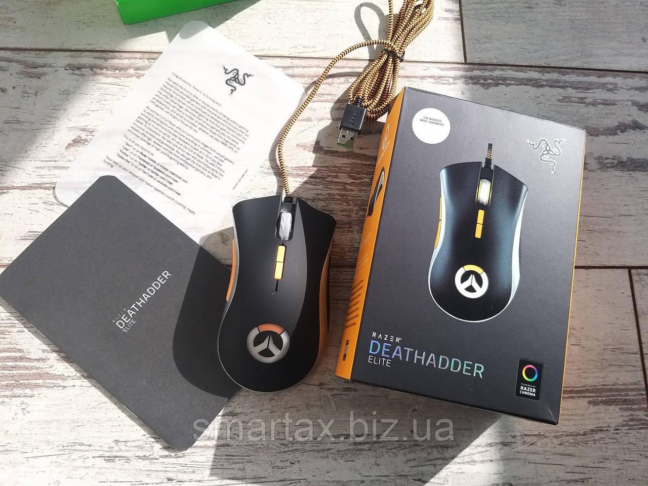 Геймерская мышка Razer Death Adder Chroma Overwatch Edition с подсветкой черная 16000 dpi