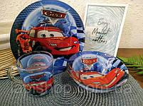 Набор детской посуды стекло Тачки 3в1, фото 2