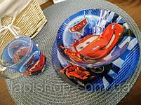 Набор детской посуды стекло Тачки 3в1, фото 5