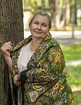 Майя 372-22, павлопосадский платок (шаль) из уплотненной шерсти с шелковой вязаной бахромой, фото 5