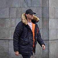Мужская черная зимняя куртка парка Olymp Аляска