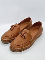 Женские туфли, лоферы коричневые натуральная кожа 39