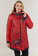 Женская демисезонная куртка прилегающего силуэта, на утеплителе, с капюшоном малиновая
