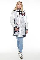Женская демисезонная куртка прилегающего силуэта, на утеплителе, с капюшоном белая