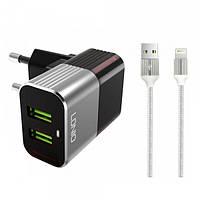 Сетевое зарядное устройство LDNIO A2206 2 USB 2.4A Lightning 1м, Gray