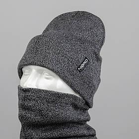 """Комплект шапка и баф """"Остин"""" Серый меланж"""