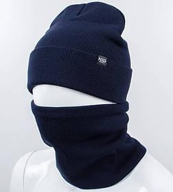 """Комплект шапка и баф """"Остин"""" Темно-синий"""