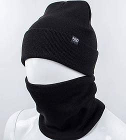 """Комплект шапка и баф """"Остин"""" Черный"""