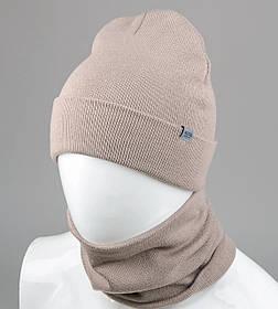 """Комплект шапка и баф """"Остин"""" Какао"""