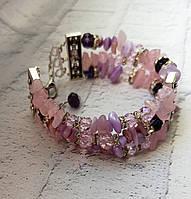 Браслет из натурального - Розового кварца -подарок женщине, фото 1