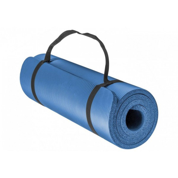 Килимок-Мат для йоги та фітнесу зі спіненого каучуку OSPORT Premium NBR 183х61см товщина 1см (FI-0075) Синій