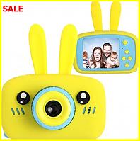 Детский цифровой фотоаппарат Smart Kids Camera Toy 9 20мп желтый в форме зайчика, детская фотокамера игрушка