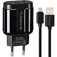 Сетевое зарядное устройство зарядка Gelius Pro Avangard GP-HC06 2 USB 2.4A + кабель Micro USB Black