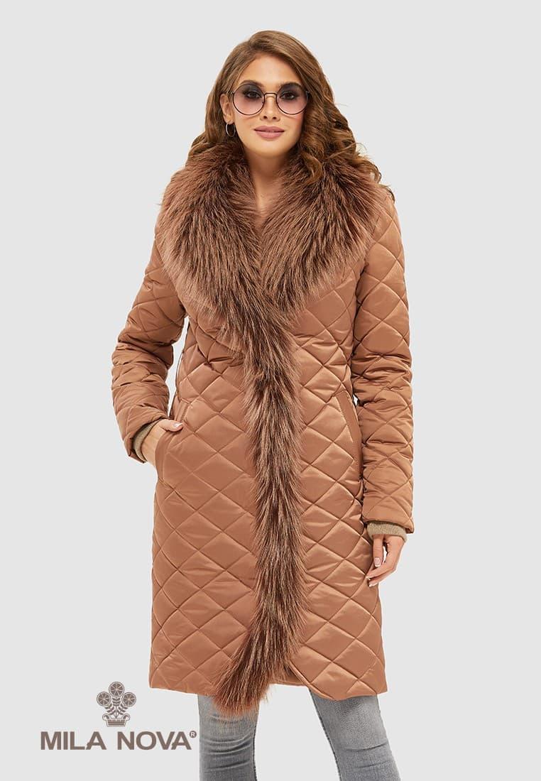 Женское зимнее пальто с натуральным мехом разеры:44-50