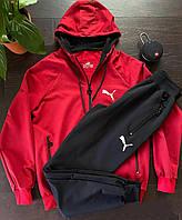 Размеры: 50,52. Мужской спортивный костюм / Трикотаж двунитка - красный