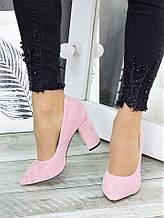 Туфли на каблуке розовая замша 7276-28