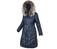Пуховик пальто женский зимний на натуральном пуху с натуральным мехом чернобурки с капюшоном MIRAGE