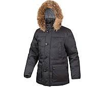 Пуховик куртка зимняя мужская длинная на натуральном пуху с капюшоном с натуральным мехом черная City Classic