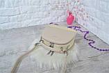 Сумка Weiliya Fashion с лаковой вставкой светло-бежевая женская, фото 4