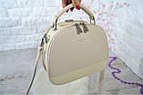 Сумка Weiliya Fashion с лаковой вставкой светло-бежевая женская, фото 6