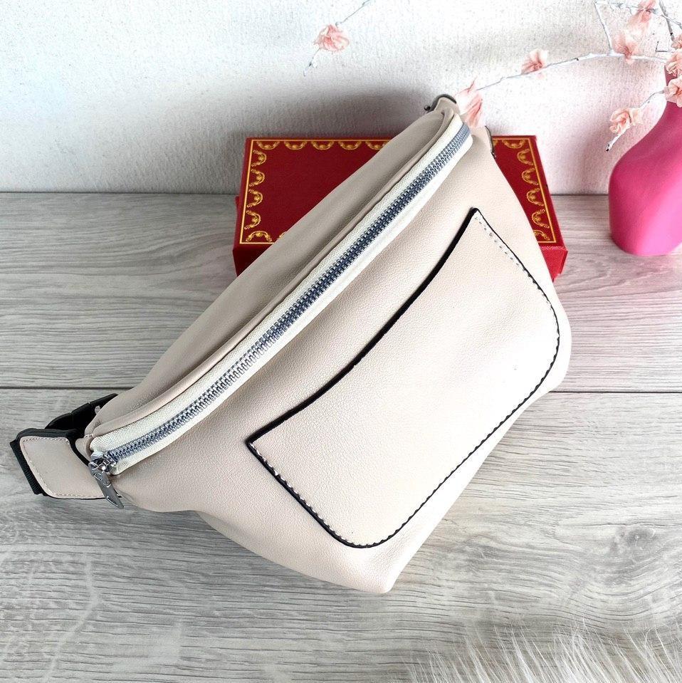 Поясная сумочка Банана🍌 с широким текстильным ремешком бежевая женская