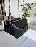 Женский клатч Чарльз и Кейт Beauty на цепочке черный ЧКБ568, фото 3