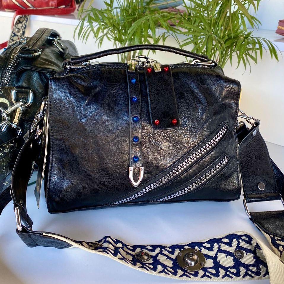 Женская сумка Valery с широким ремешком черная СВ93
