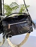Женская сумка Valery с широким ремешком черная СВ93, фото 3