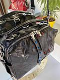 Женская сумка Valery с широким ремешком черная СВ93, фото 4