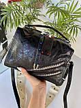 Женская сумка Valery с широким ремешком черная СВ93, фото 6