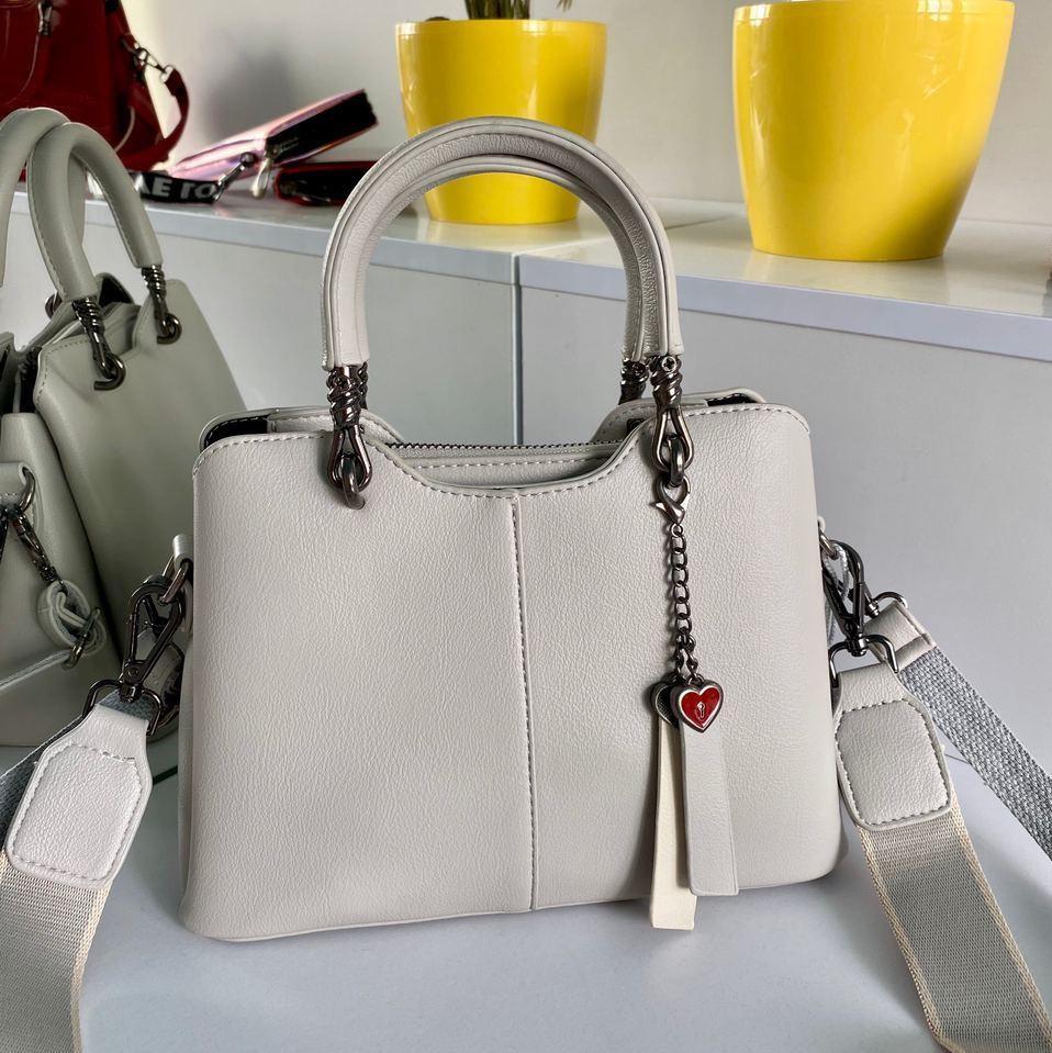 Женская сумка Love на три отделения серая СЛТ47