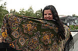 Майя 372-22, павлопосадский платок (шаль) из уплотненной шерсти с шелковой вязаной бахромой, фото 9