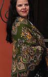 Майя 372-22, павлопосадский платок (шаль) из уплотненной шерсти с шелковой вязаной бахромой, фото 6