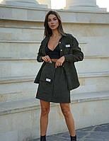 Женский вельветовый костюм хаки с юбкой на запах